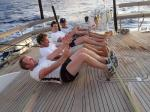 the lads working hard on the aft deck