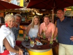 Eddie & Marie with the LUSH crew, eating out in the Porquerolles!