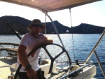 Paul Adamson anchoring LUSH, Cala Jondal Bay